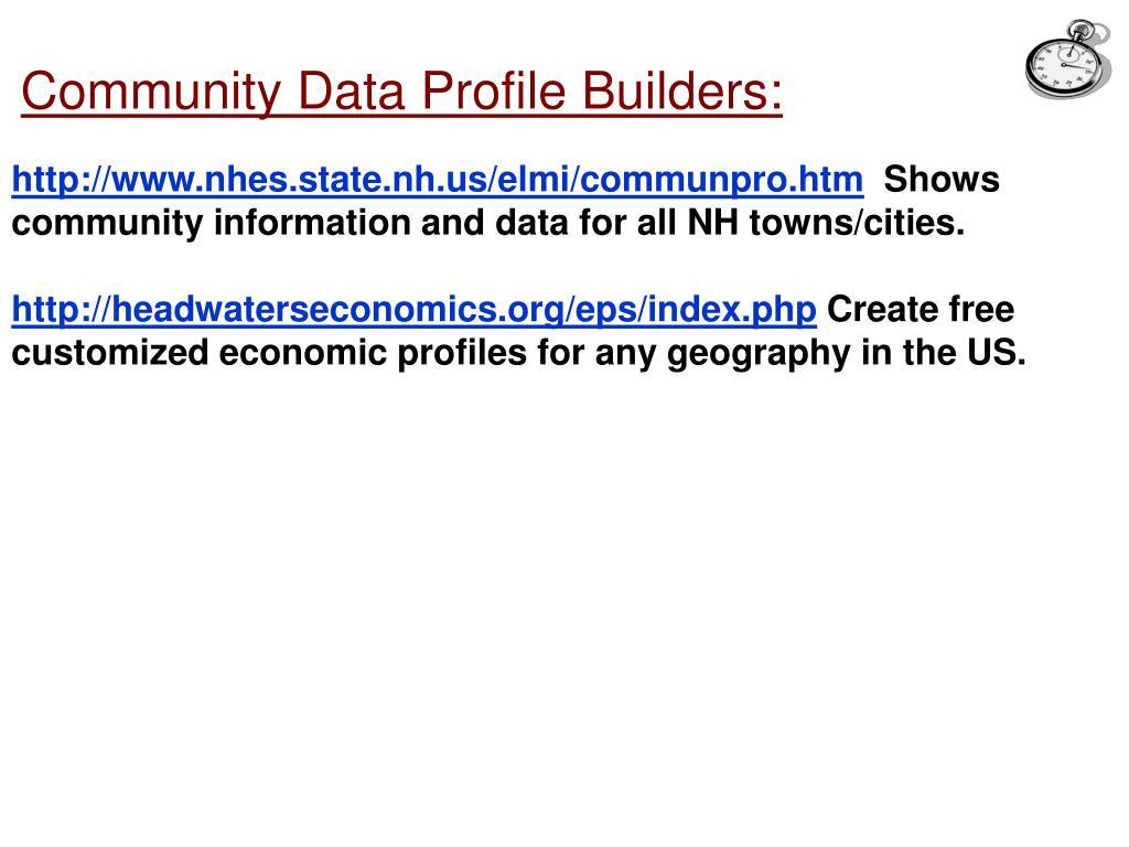 Community Data Profile Builders: