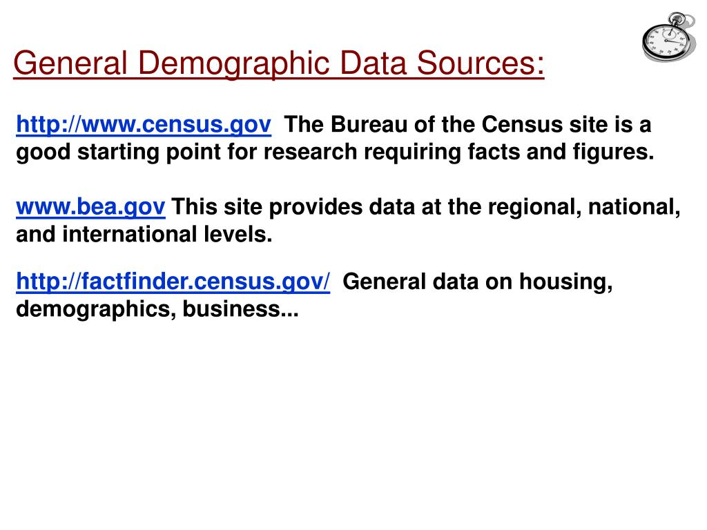 General Demographic Data Sources: