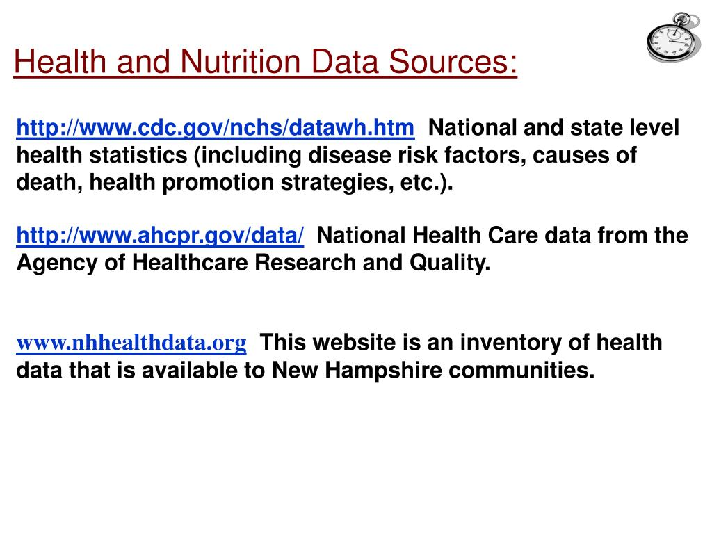 Health and Nutrition Data Sources: