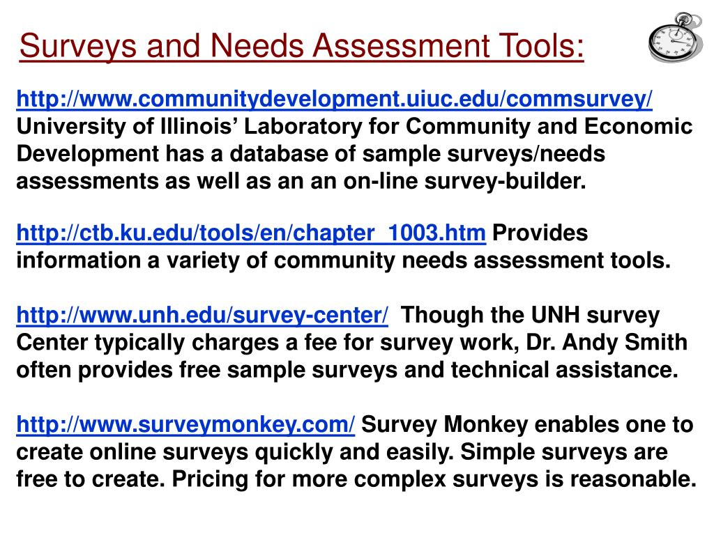 Surveys and Needs Assessment Tools: