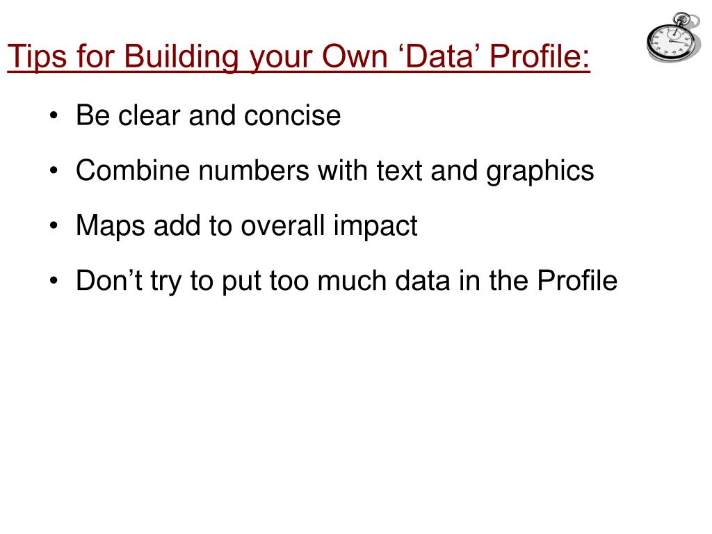 Tips for Building your Own 'Data' Profile: