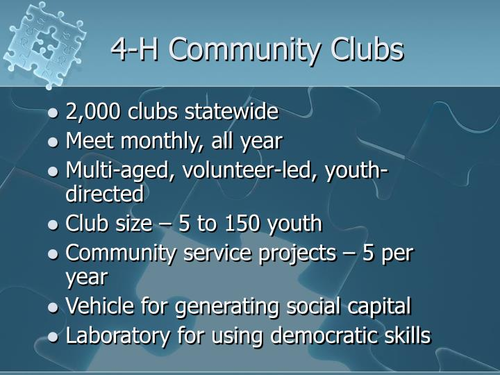 4-H Community Clubs