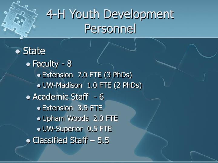 4-H Youth Development Personnel