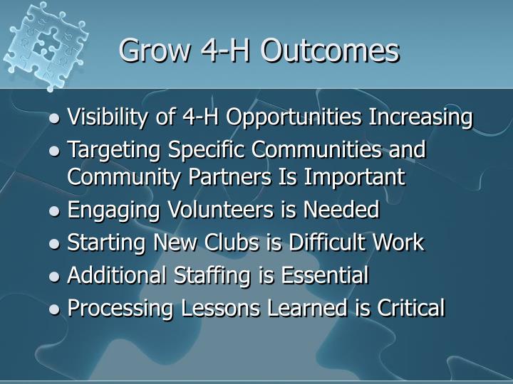 Grow 4-H Outcomes