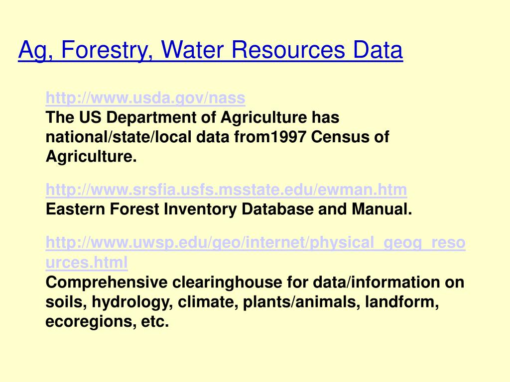 Ag, Forestry, Water Resources Data