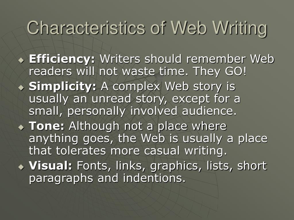 Characteristics of Web Writing