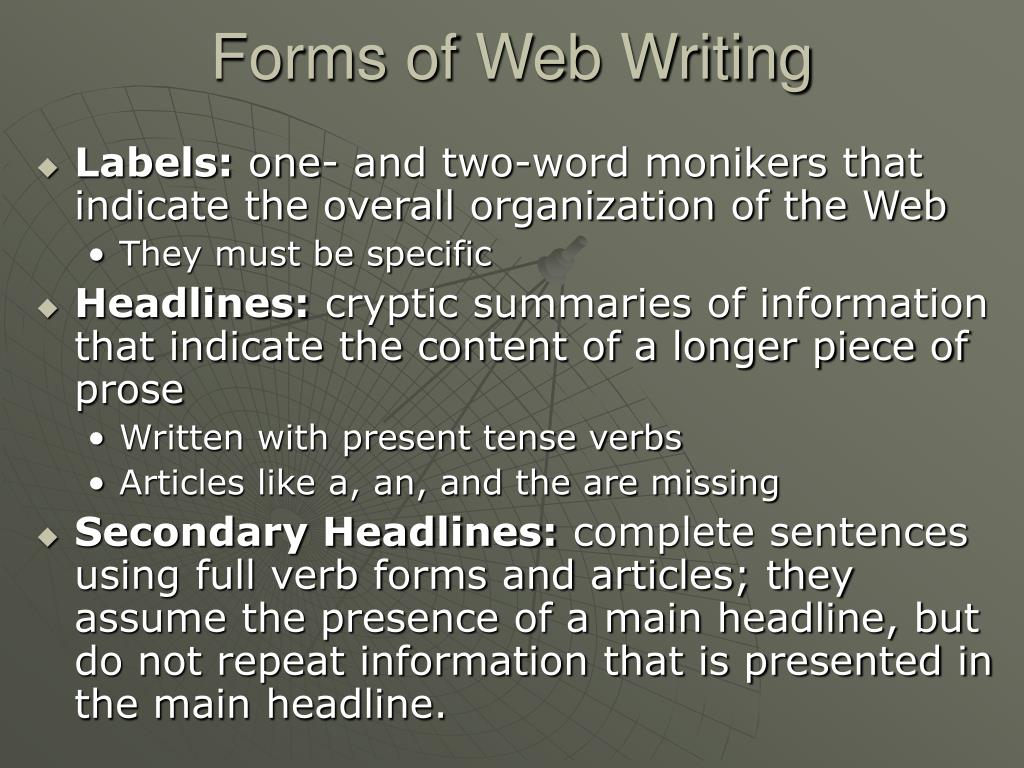 Forms of Web Writing