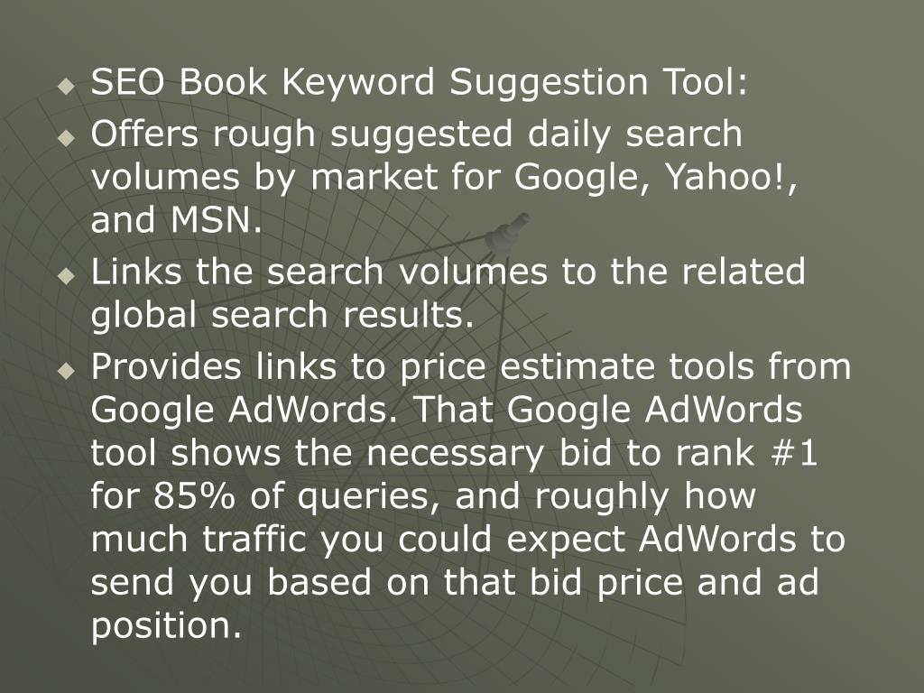 SEO Book Keyword Suggestion Tool: