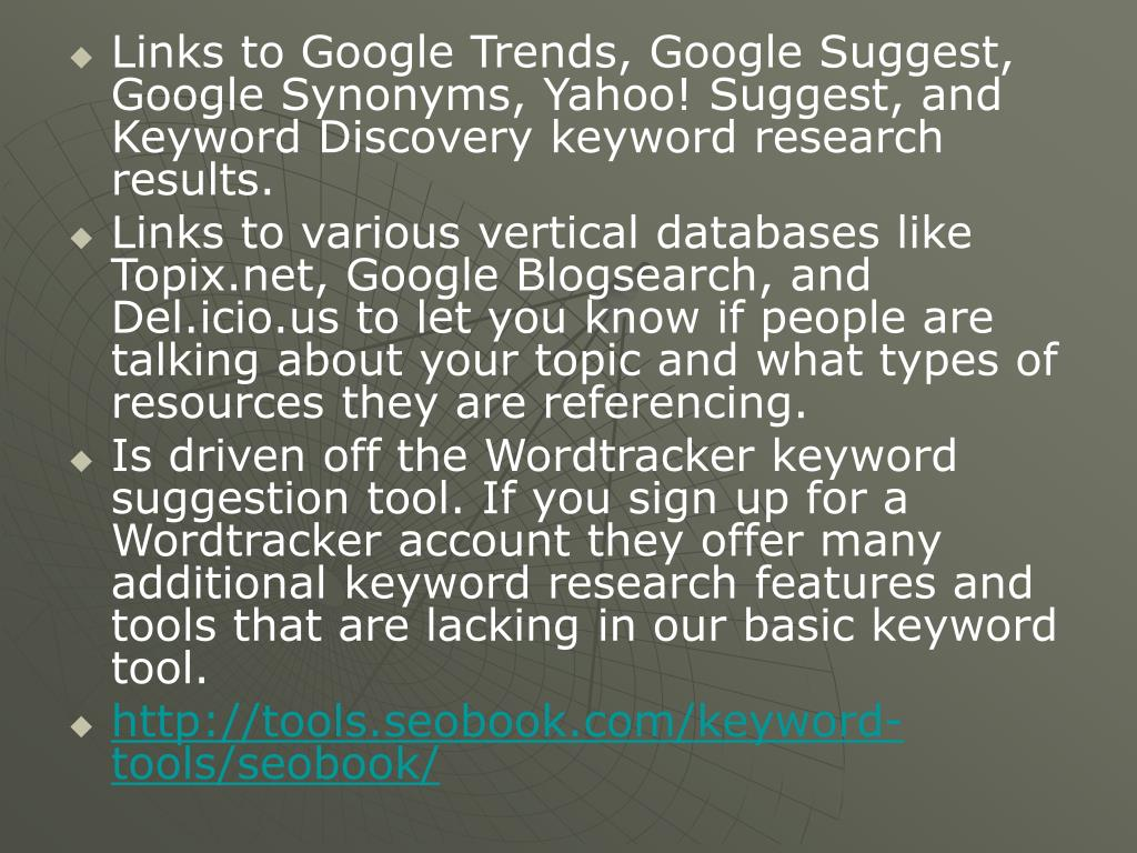 Links to Google Trends, Google Suggest, Google Synonyms, Yahoo! Suggest, and Keyword Discovery keyword research results.