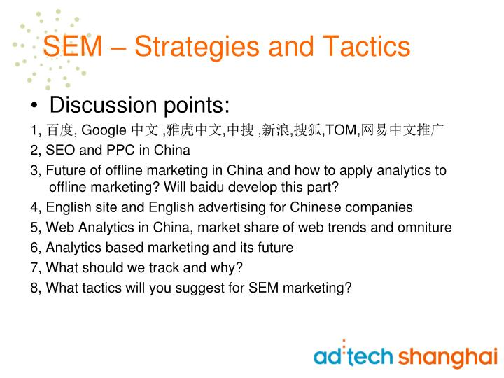Sem strategies and tactics