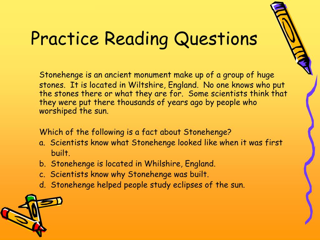 Practice Reading Questions