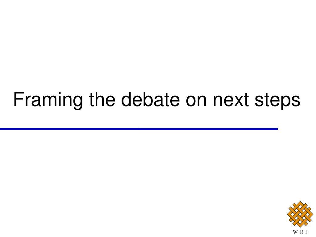 Framing the debate on next steps