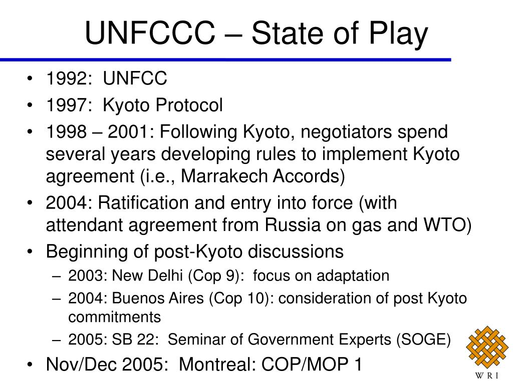 UNFCCC – State of Play