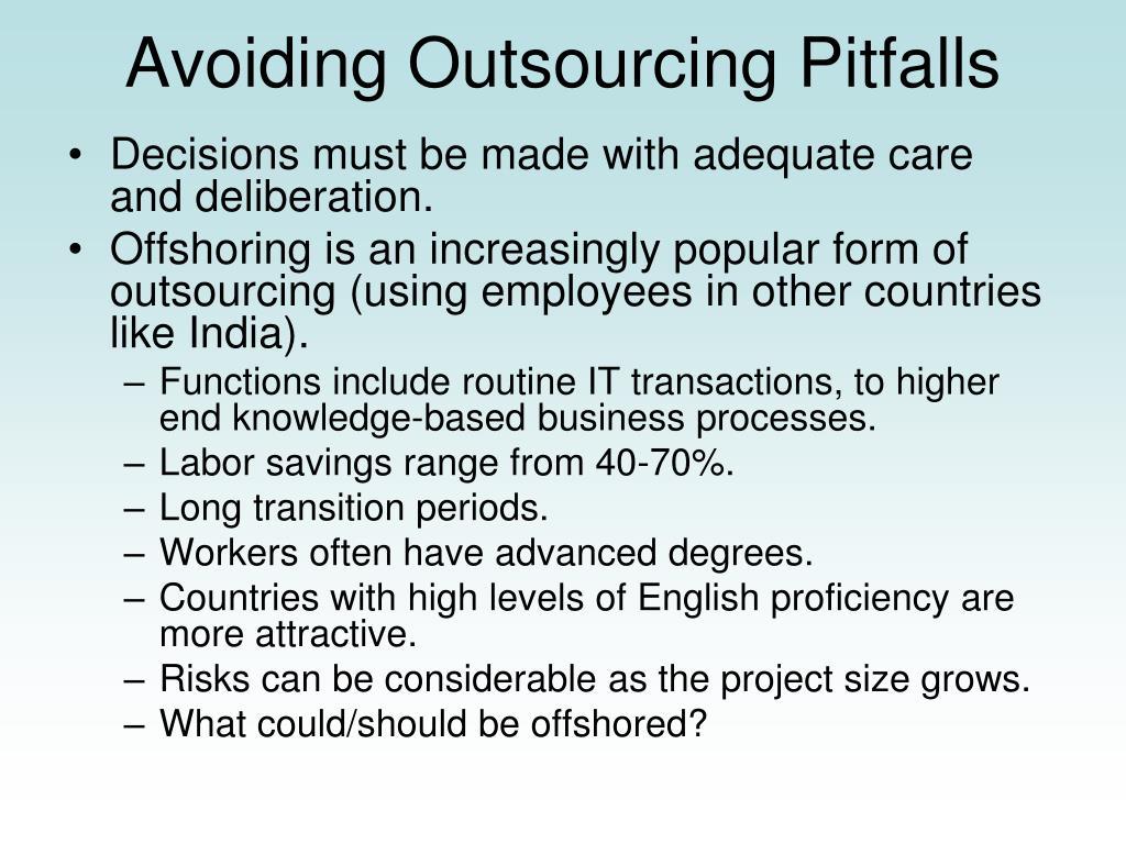 Avoiding Outsourcing Pitfalls