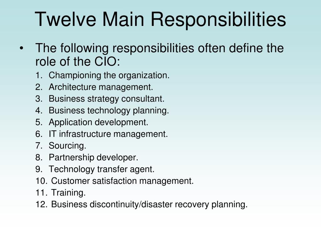 Twelve Main Responsibilities