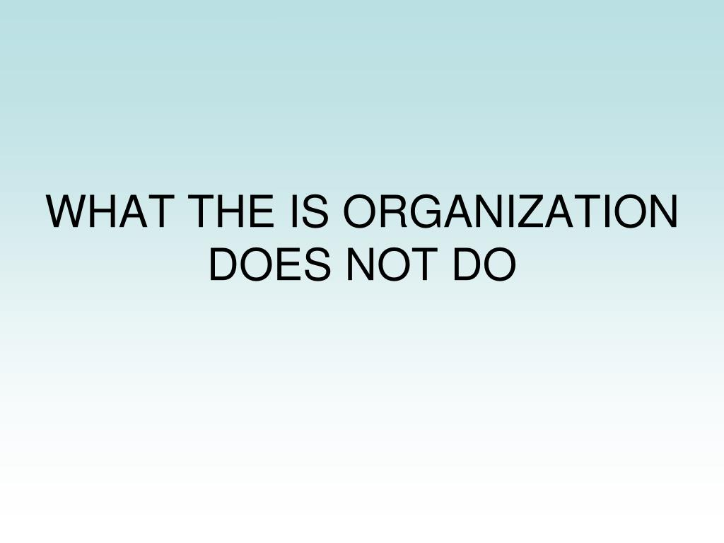 WHAT THE IS ORGANIZATION DOES NOT DO