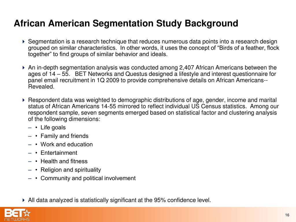 African American Segmentation Study Background