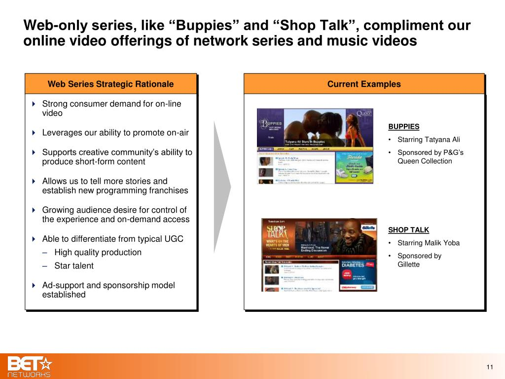 "Web-only series, like ""Buppies"" and ""Shop Talk"", compliment our online video offerings of network series and music videos"