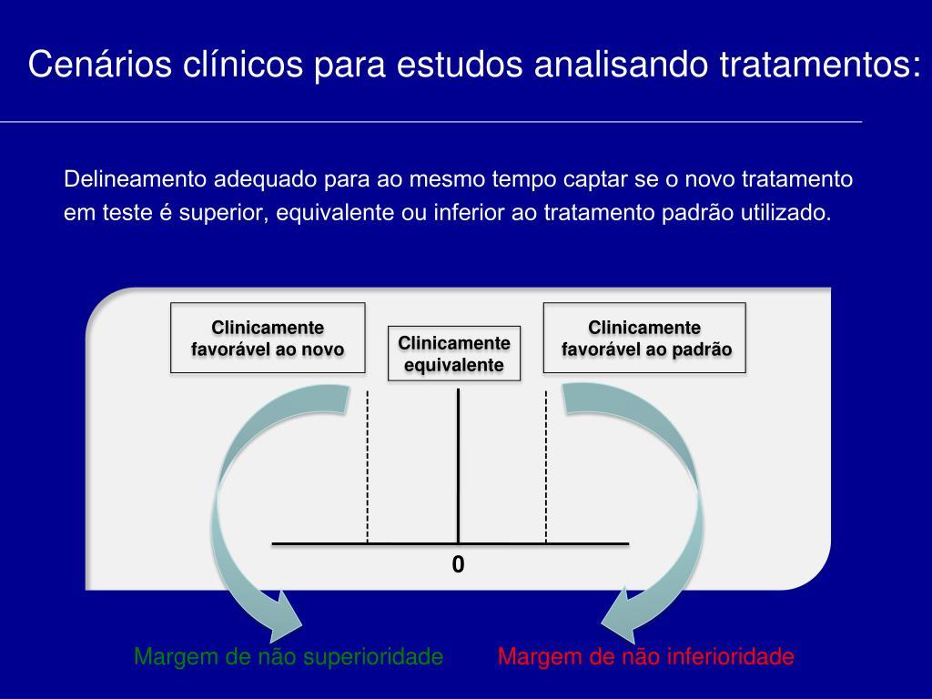Cenários clínicos para estudos analisando tratamentos: