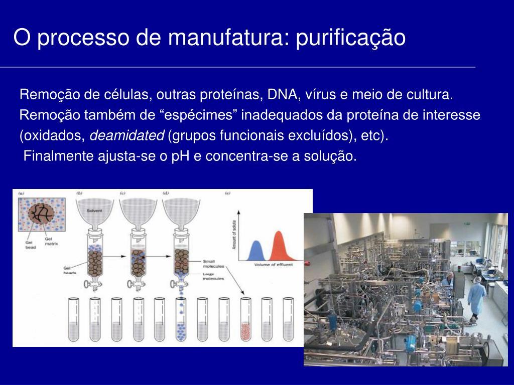O processo de manufatura: purificação