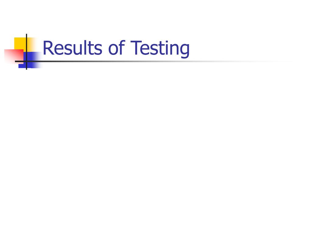 Results of Testing