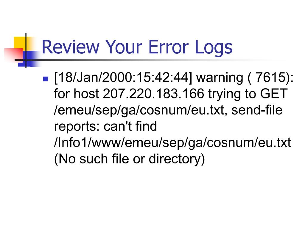 Review Your Error Logs
