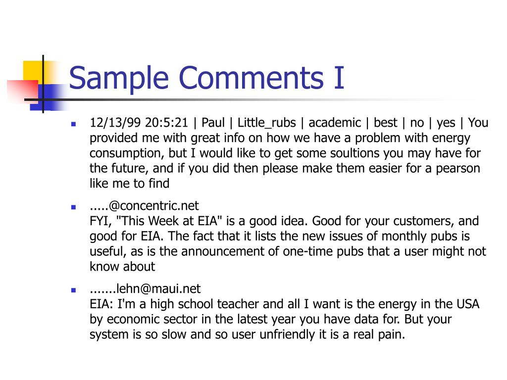 Sample Comments I