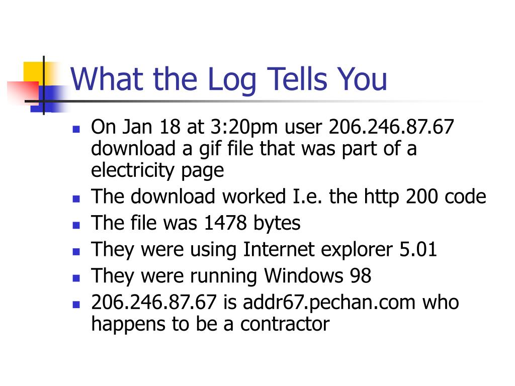 What the Log Tells You