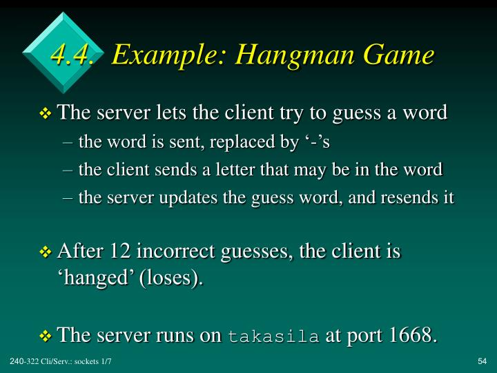 4.4.  Example: Hangman Game