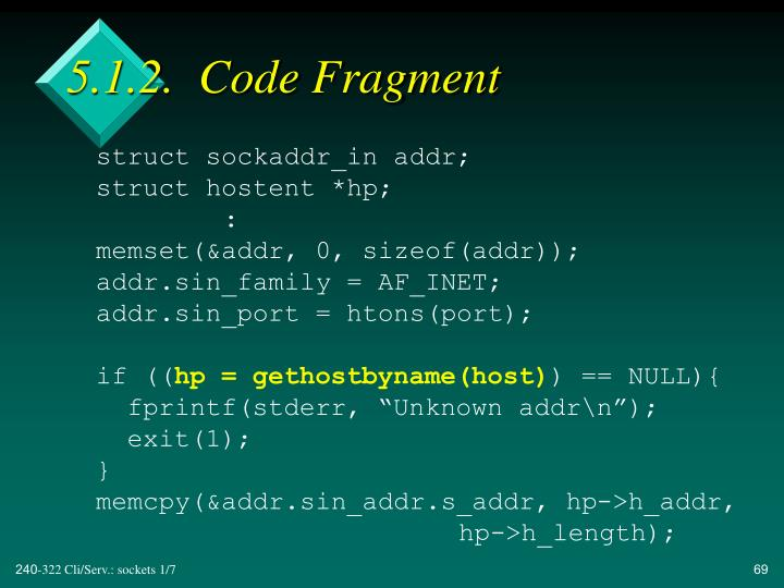 5.1.2.  Code Fragment