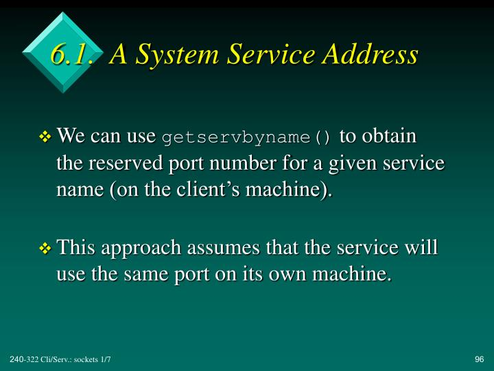6.1.  A System Service Address