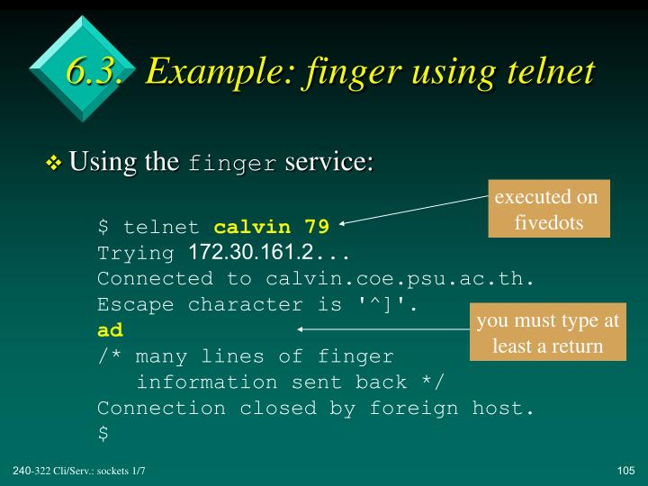6.3.  Example: finger using telnet