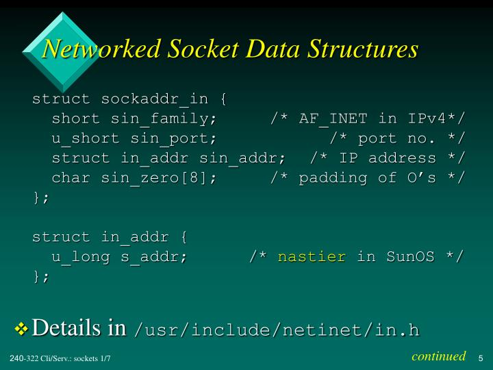 Networked Socket Data Structures