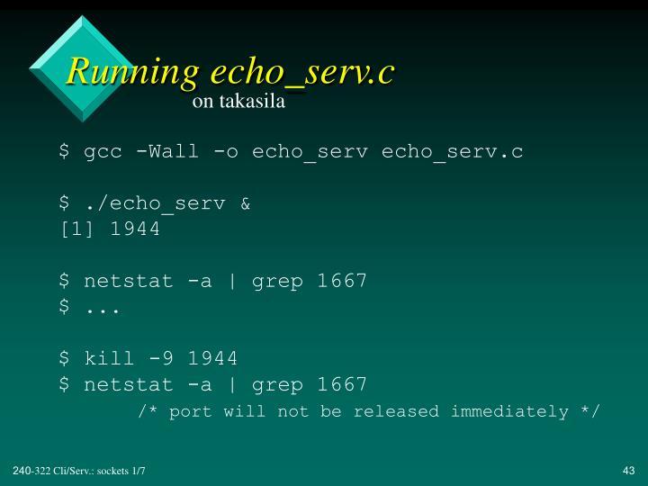 Running echo_serv.c