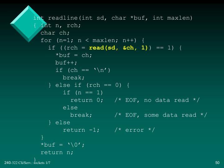 int readline(int sd, char *buf, int maxlen)