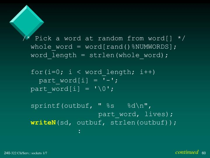 /* Pick a word at random from word[] */