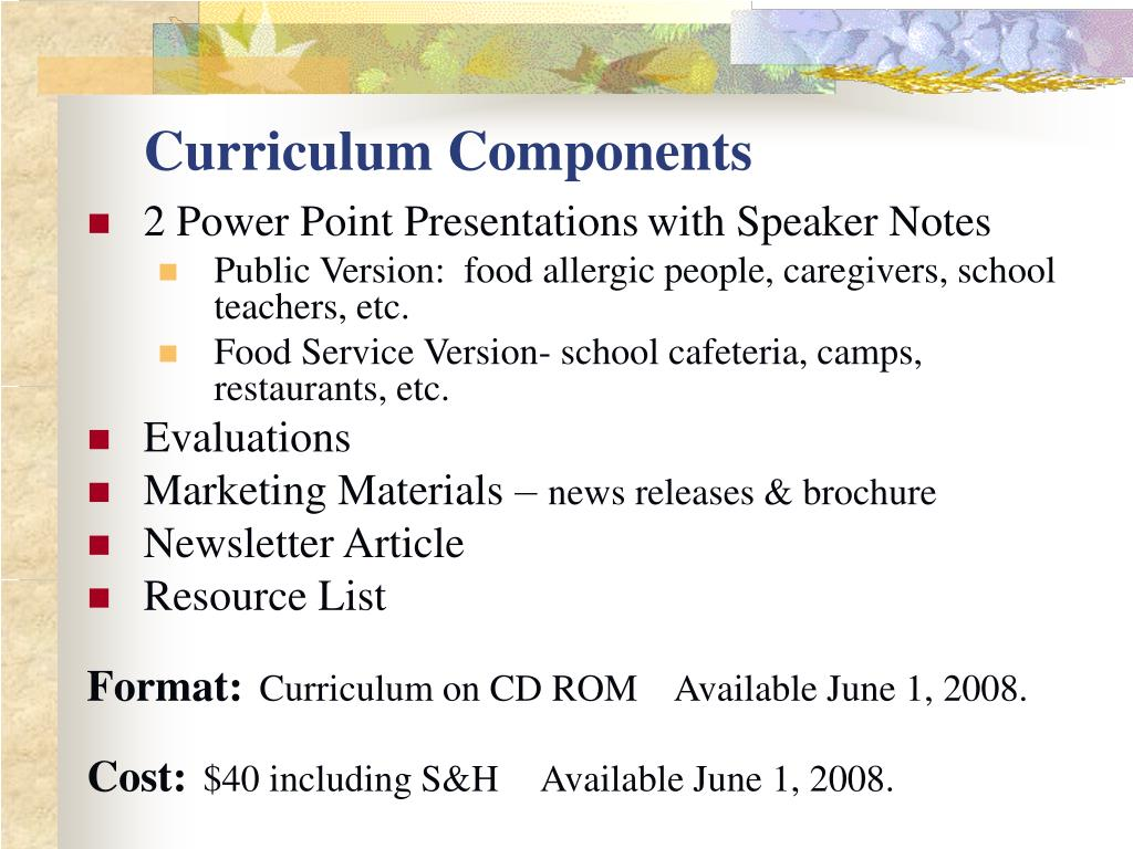 Curriculum Components