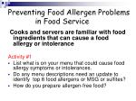 preventing food allergen problems in food service27