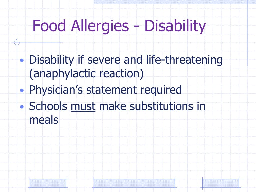 Food Allergies - Disability