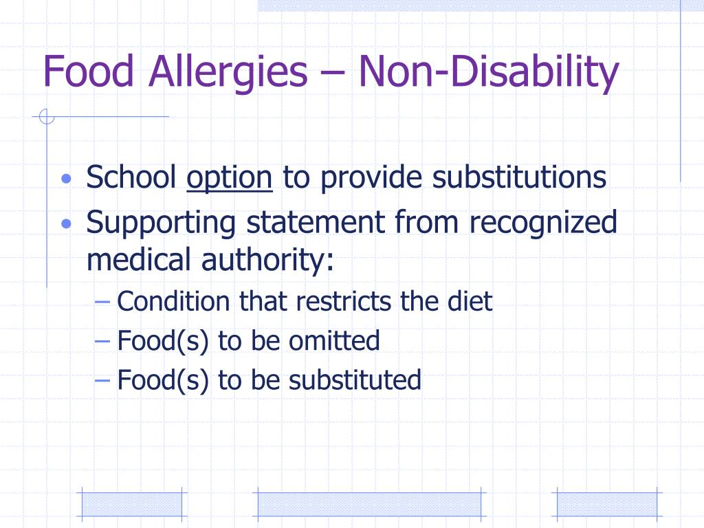 Food Allergies – Non-Disability