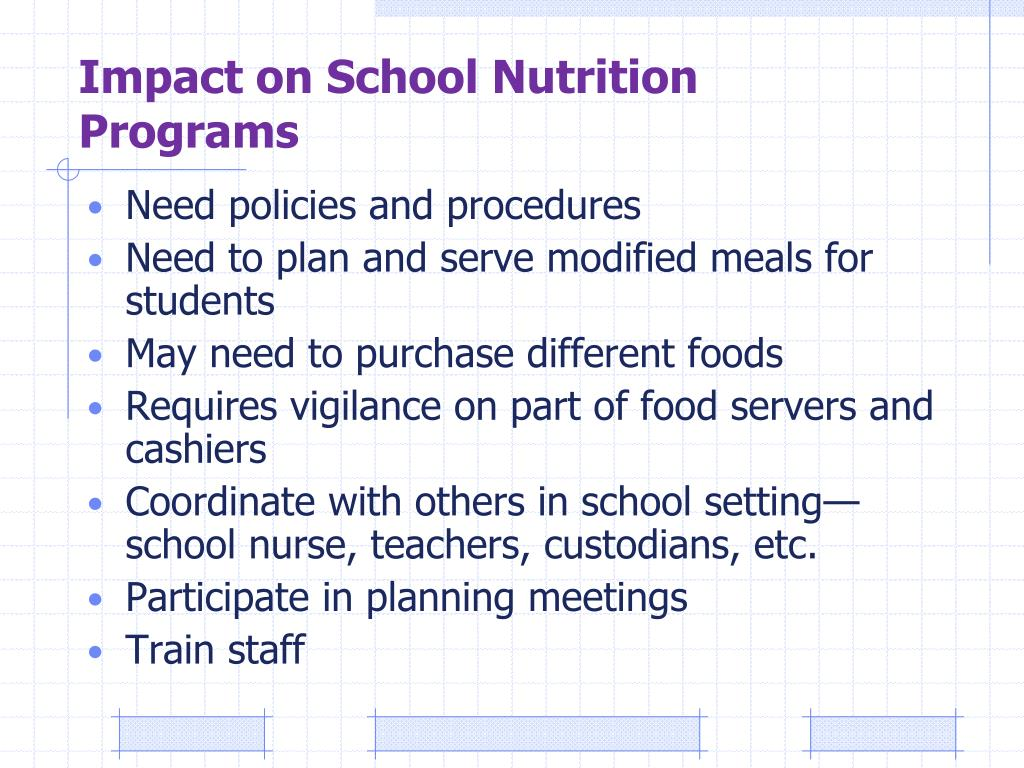 Impact on School Nutrition Programs