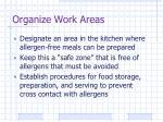 organize work areas
