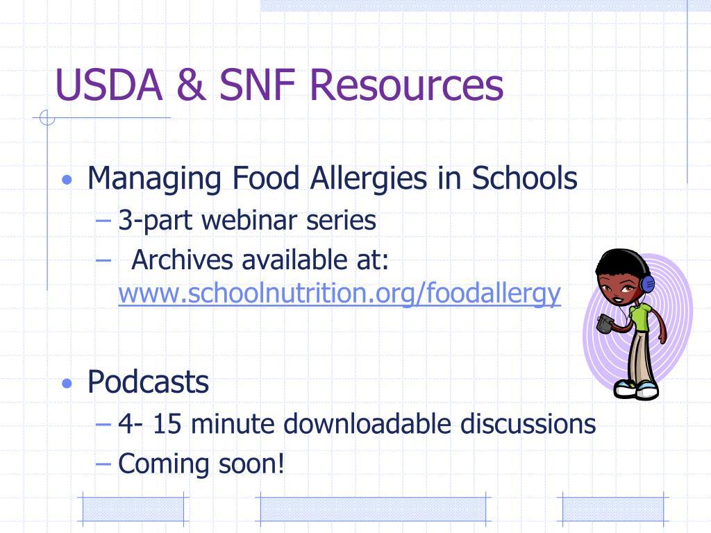 USDA & SNF Resources