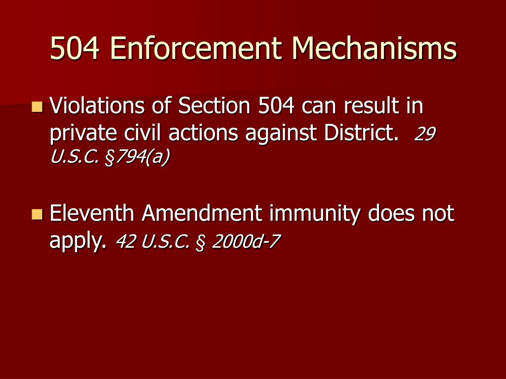 504 Enforcement Mechanisms