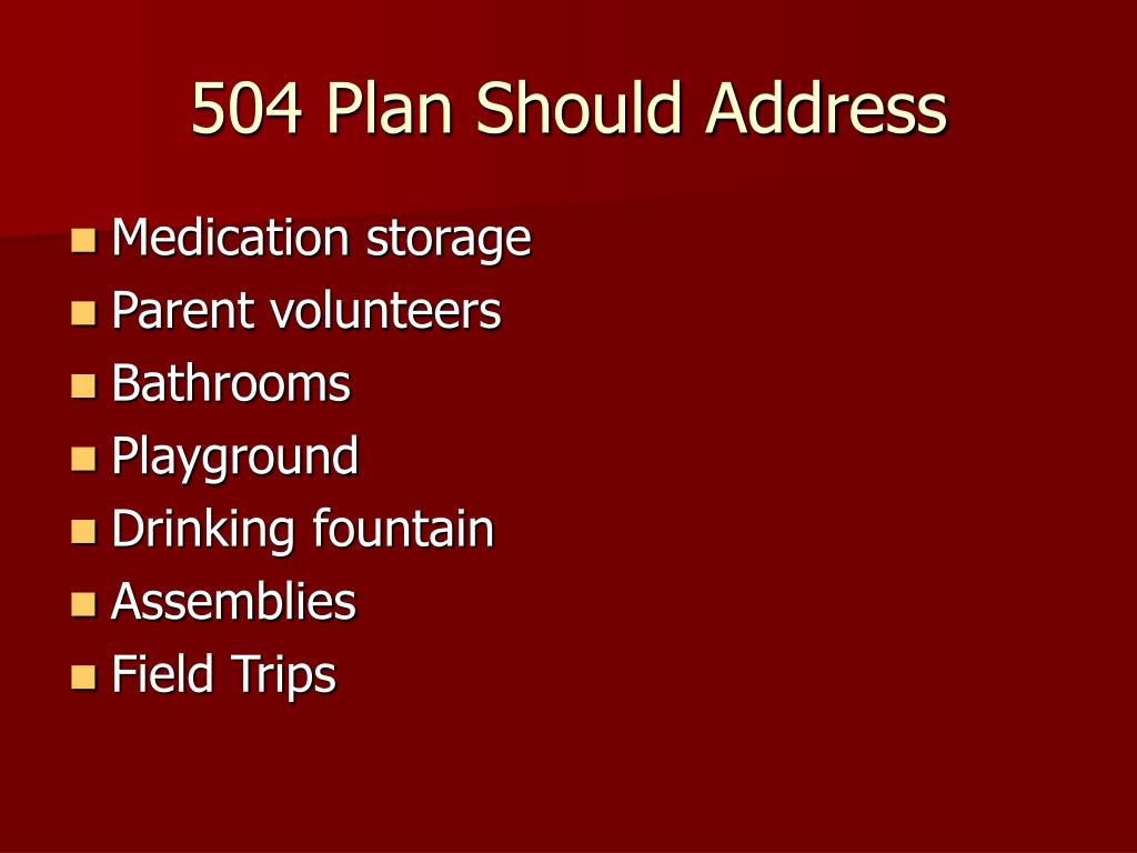 504 Plan Should Address