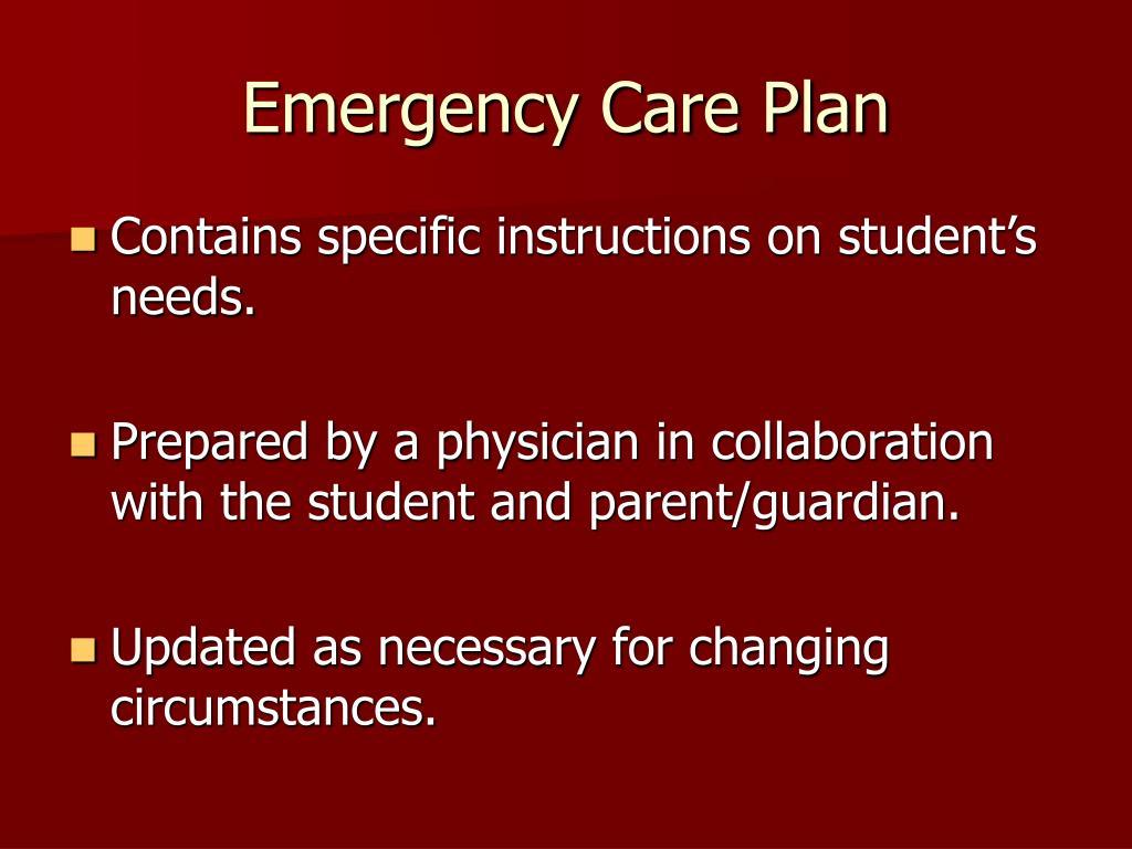 Emergency Care Plan