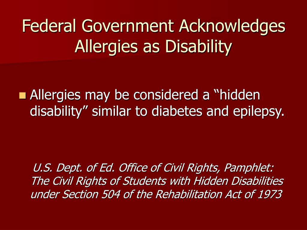 Federal Government Acknowledges Allergies as Disability