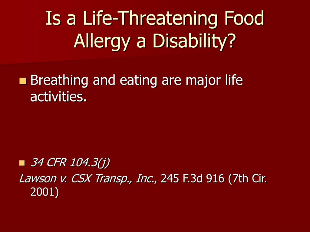 Is a Life-Threatening Food Allergy a Disability?