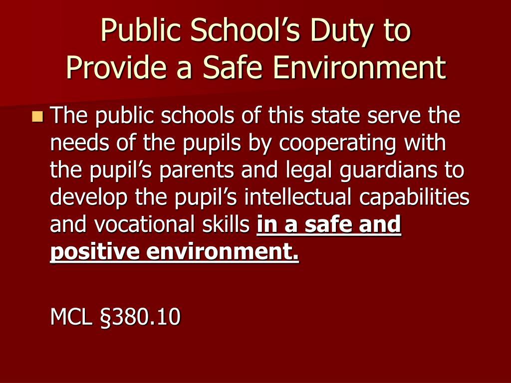 Public School's Duty to