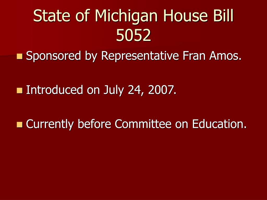 State of Michigan House Bill 5052